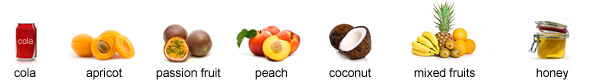 cola, apricot, passion fruit, peach, coconut, mixed fruits, honey